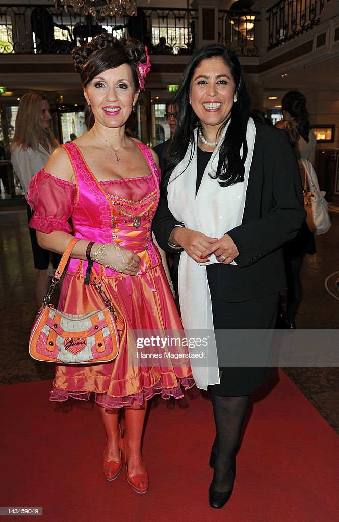 Angelika Zwerenz and Nagia El-Sayed (ARTDECO) attend the ARTDECO Art Couture Collection at Bayerischer Hof on April 26, 2012 in Munich, Germany.