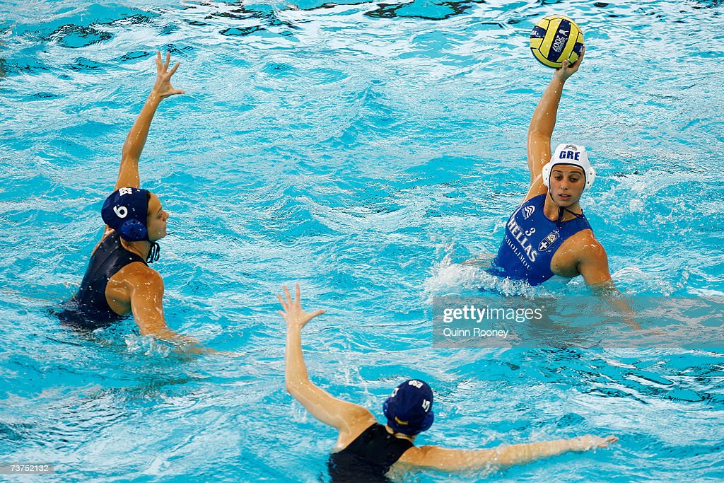 Angeliki Gerolymou of Greece looks for the pass over Miriam LopezEscribano Jara and Jennifer Pareja Lisalde of Spain in the Women's 7th8th Place...