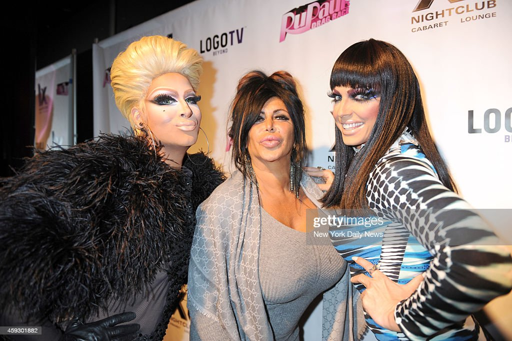 Angelina 'Big Ang' Raiola in center with Drag Race girls Roxxx Andrew and Alyssa Edwards at the 5th season celebration for 'RUPAUL'S DRAG RACE'...