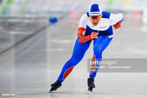 Angelina Golikova of Russia competes in the ladies 1000 meter final during day 3 of the ISU World Cup Speed Skating event on December 10 2017 in Salt...