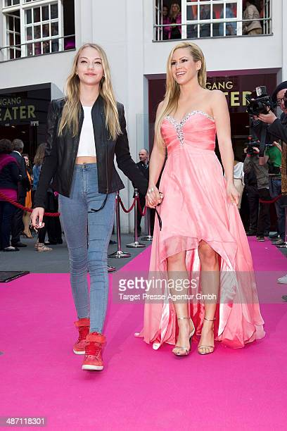Angelina Heger and Cheyenne Ochsenknecht attend the 'Dirty Dancing' musical premiere at Admiralspalast on April 27 2014 in Berlin Germany