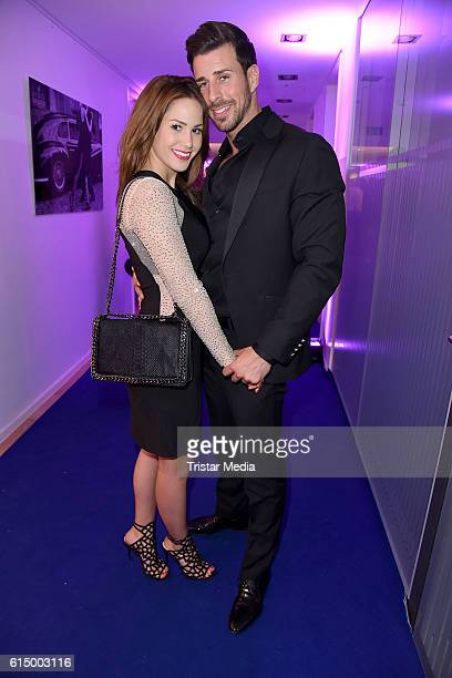 Angelina Heger and her boyfriend Leonard Freier attend the Opening Party of the Men's Beauty Clinic on October 15 2016 in Duesseldorf Germany