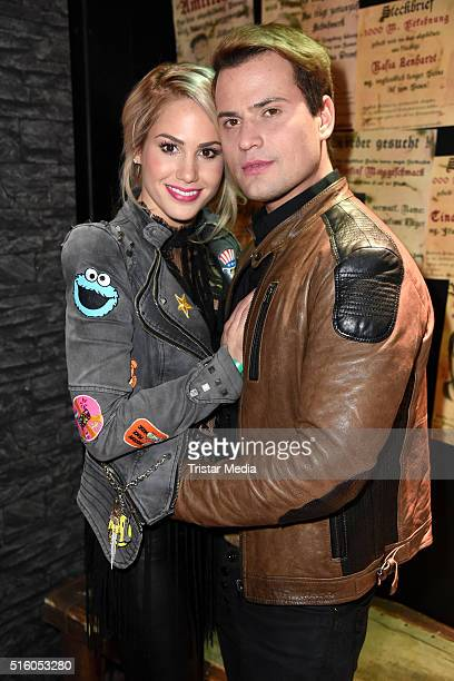 Angelina Heger and Rocco Stark attend the Premiere Of 'Exitus' FreefallTowers At Berlin Dunge on March 16 in Berlin Germany