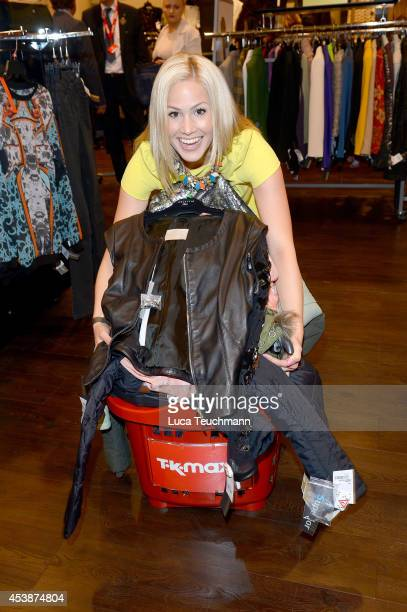 Angelina Heger attends an exclusive VIP late night shopping event at TK Maxx flagship store Alexanderplatz on August 20 2014 in Berlin Germany TK...