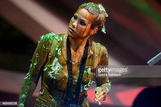 Angelina Heger looks on during the final of the television show 'Ich bin ein Star lasst mich wieder rein' on August 8 2015 in Huerth Germany