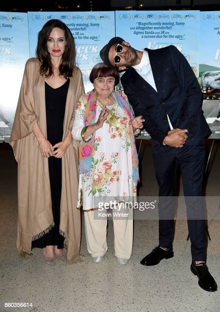Angelina Jolie Agnes Varda and JR attend the premiere of Cohen Media Group's 'Faces Places' at Pacific Design Center on October 11 2017 in West...