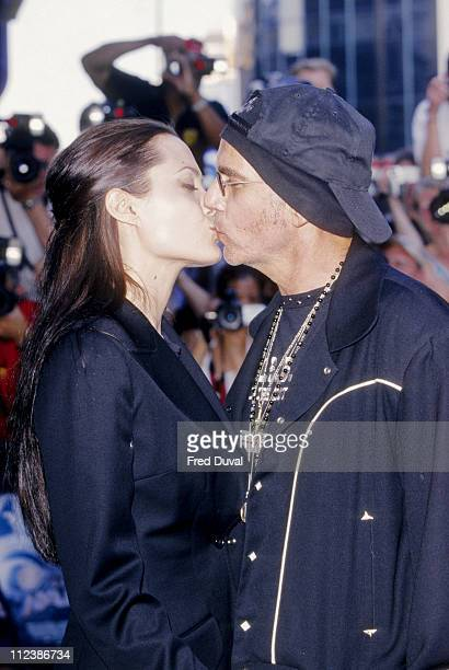 Angelina Jolie and Billy Bob Thornton during 'Tomb Raider' London Premiere at Leicester Square in London Great Britain