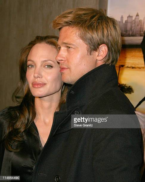 Angelina Jolie and Brad Bitt during 'God Grew Tired of Us' Los Angeles Premiere Arrivals at Pacific Design Center in West Hollywood California United...