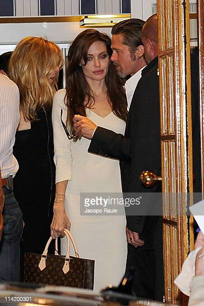 Angelina Jolie and Brad Pitt are seen leaving a restaurant during The 64th Annual Cannes Film Festival on May 15 2011 in Cannes France