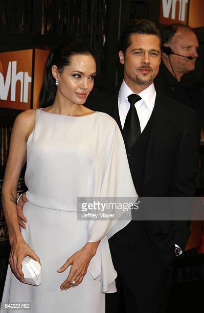 Angelina Jolie and Brad Pitt arrive at the 14th Annual Critics' Choice Awards at the Santa Monica Civic Center on January 8 2009 in Santa Monica...