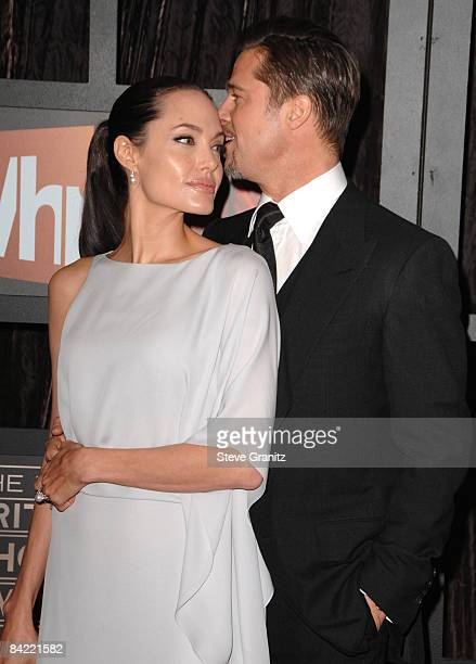Angelina Jolie and Brad Pitt arrives at the 14th Annual Critics' Choice Awards at the Santa Monica Civic Center on January 8 2009 in Santa Monica...