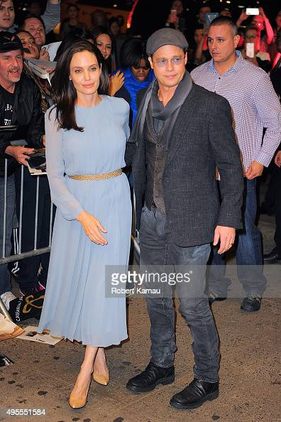 Angelina Jolie and Brad Pitt attend a screening of the movie 'By The Sea' at the Cinema 1 3 on November 3 2015 in New York City