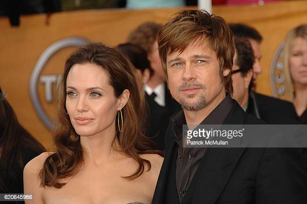 Angelina Jolie and Brad Pitt attend The 14th Annual Screen Actors Guild Awards Arrivals at The Shrine Auditorium on January 27 2008 in Los Angeles CA