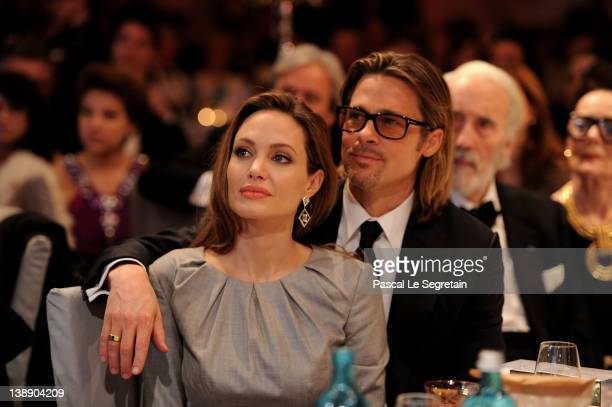 Angelina Jolie and Brad Pitt attend the Cinema for Peace Gala ceremony at the Konzerthaus Am Gendarmenmarkt during day five of the 62nd Berlin...
