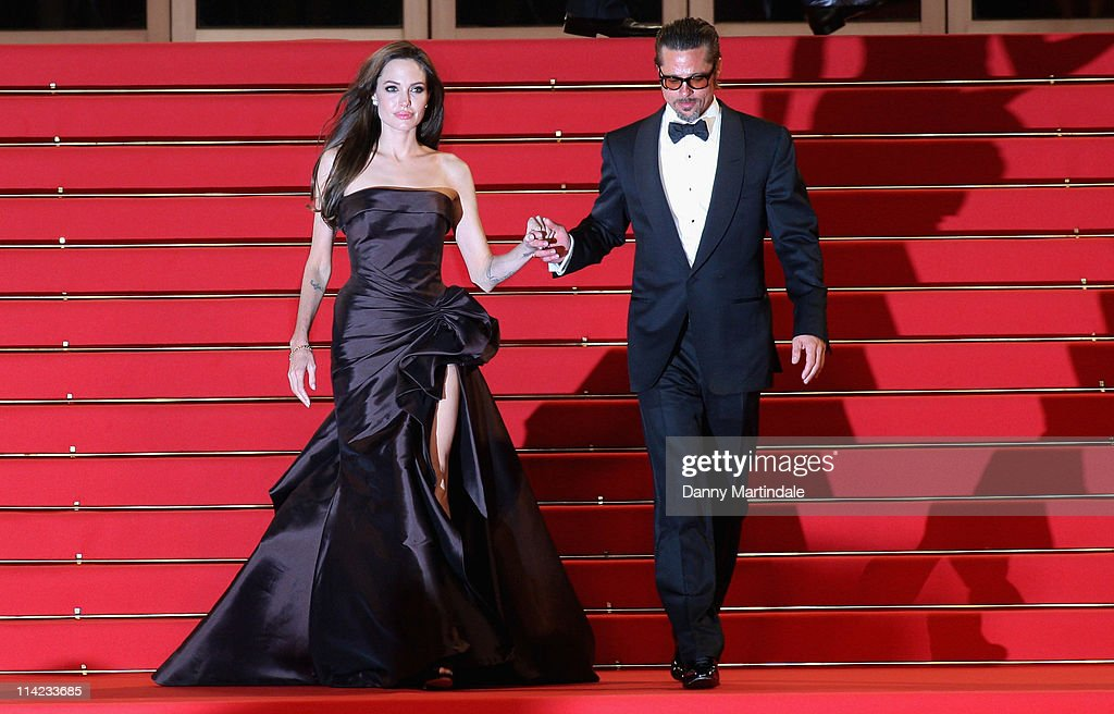 Angelina Jolie and Brad Pitt attend the 'The Tree Of Life' Premiere at Palais des Festivals on May 16 2011 in Cannes France