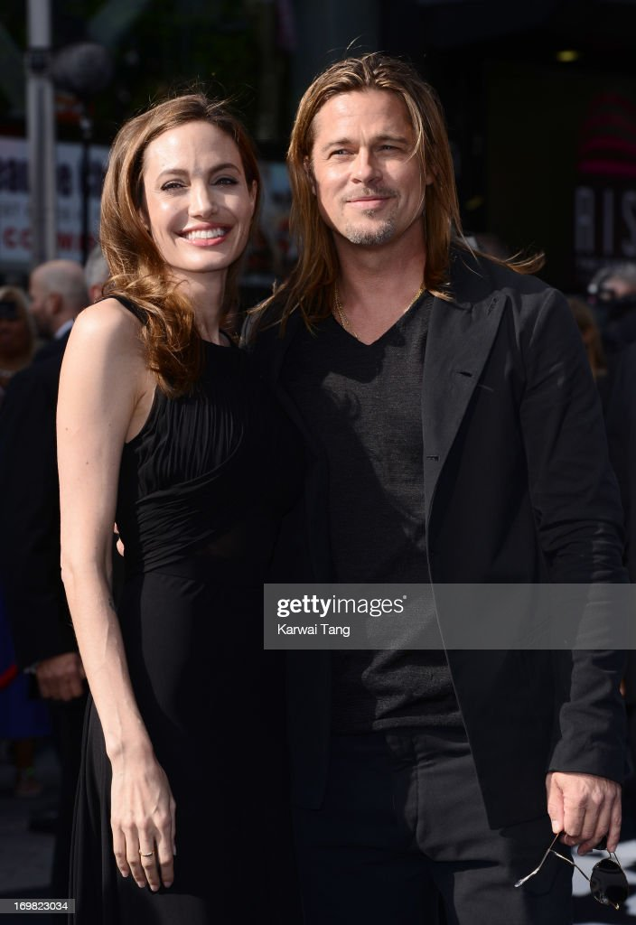 <a gi-track='captionPersonalityLinkClicked' href=/galleries/search?phrase=Angelina+Jolie&family=editorial&specificpeople=201591 ng-click='$event.stopPropagation()'>Angelina Jolie</a> and <a gi-track='captionPersonalityLinkClicked' href=/galleries/search?phrase=Brad+Pitt+-+Actor&family=editorial&specificpeople=201682 ng-click='$event.stopPropagation()'>Brad Pitt</a> attend the World Premiere of 'World War Z' at The Empire Cinema on June 2, 2013 in London, England.