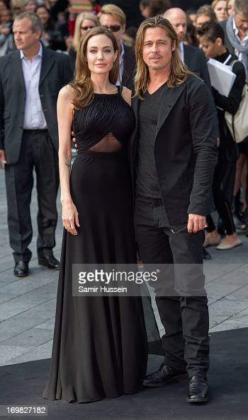 Angelina Jolie and Brad Pitt attend the world premiere of 'World War Z' at The Empire Cinema on June 2 2013 in London England