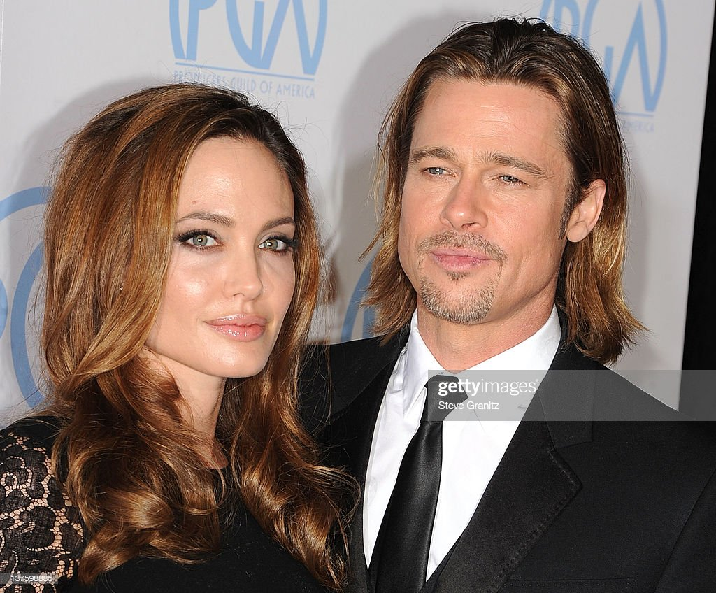 Angelina Jolie and Brad Pitt attends the 23rd Annual Producers Guild Awards at The Beverly Hilton hotel on January 21, 2012 in Beverly Hills, California.
