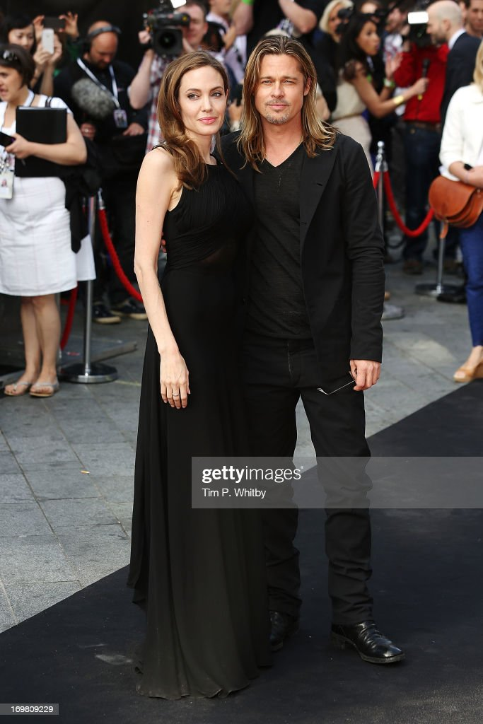 Angelina Jolie and Brad Pitt attends the World Premiere of 'World War Z' at The Empire Cinema on June 2, 2013 in London, England.
