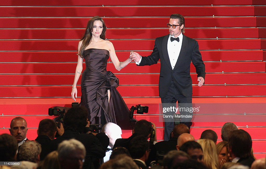 Angelina Jolie and Brad Pitt depart the 'The Tree Of Life' Premiere at Palais des Festivals on May 16, 2011 in Cannes, France.