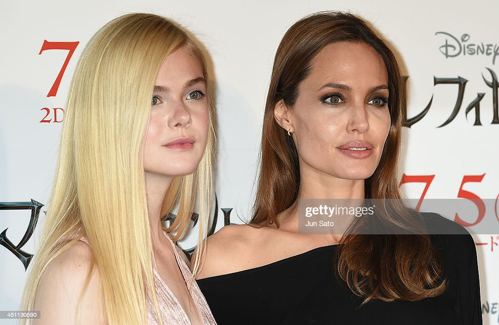 <a gi-track='captionPersonalityLinkClicked' href=/galleries/search?phrase=Angelina+Jolie&family=editorial&specificpeople=201591 ng-click='$event.stopPropagation()'>Angelina Jolie</a> and <a gi-track='captionPersonalityLinkClicked' href=/galleries/search?phrase=Elle+Fanning&family=editorial&specificpeople=2189940 ng-click='$event.stopPropagation()'>Elle Fanning</a> attend 'Maleficent' press conference for Japan premiere at Grand Hyatt Tokyo on June 24, 2014 in Tokyo, Japan.