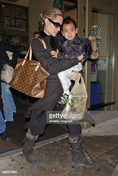 Angelina Jolie and her son Maddox are seen coming out of a lower Westside Whole Food store December 4 2005 in New York City