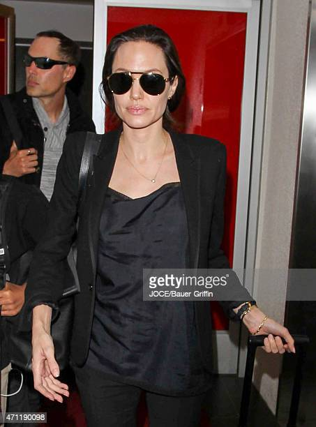 Angelina Jolie and James Haven are seen at LAX on April 25 2015 in Los Angeles California
