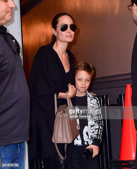 Angelina Jolie and Knox JoliePitt leave Broadway musical Hamilton at Richard Rodgers Theatre on June 19 2016 in New York City