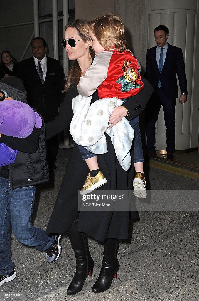<a gi-track='captionPersonalityLinkClicked' href=/galleries/search?phrase=Angelina+Jolie&family=editorial&specificpeople=201591 ng-click='$event.stopPropagation()'>Angelina Jolie</a> and Knox Leon as seen on April 5, 2013 in New York City.