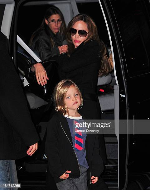 Angelina Jolie and Shiloh JoliePitt visit a Manhattan movie theater on December 3 2011 in New York City