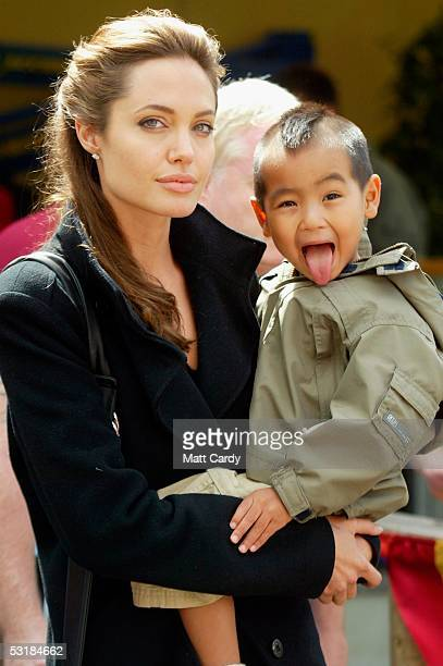 Angelina Jolie and son Maddox during Live 8 Africa Calling hosted by musician Peter Gabriel at The Eden Project on July 2 2005 in St Austell Cornwall...