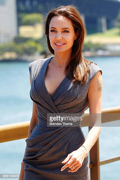 Angelina Jolie arrives at the photo call of Unbroken at Sydney Opera House on November 18 2014 in Sydney Australia
