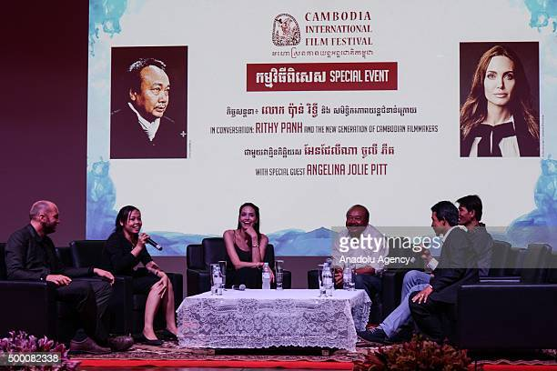 Angelina Jolie attends a panel during the Cambodia International Film Festival in Phnom Penh Cambodia on December 5 2015