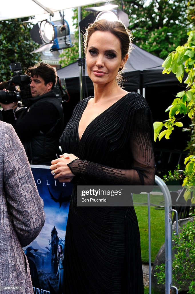<a gi-track='captionPersonalityLinkClicked' href=/galleries/search?phrase=Angelina+Jolie&family=editorial&specificpeople=201591 ng-click='$event.stopPropagation()'>Angelina Jolie</a> attends a private reception as costumes and props from Disney's 'Maleficent' are exhibited in support of Great Ormond Street Hospital at Kensington Palace on May 8, 2014 in London, England.