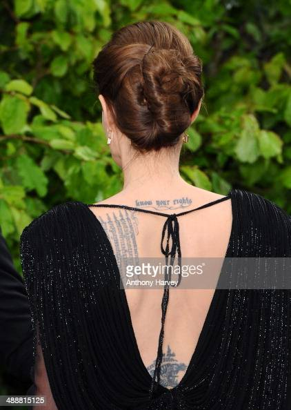 Angelina Jolie attends a private reception as costumes and props from Disney's 'Maleficent' are exhibited in support of Great Ormond Street Hospital...