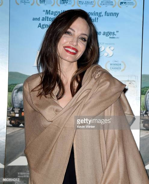 Angelina Jolie attends the premiere of Cohen Media Group's 'Faces Places' at Pacific Design Center on October 11 2017 in West Hollywood California