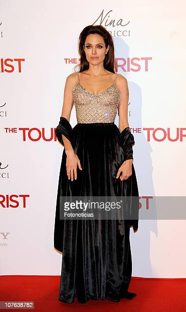 Angelina Jolie attends the premiere of 'The Tourist' at the Palacio de Deportes on December 16 2010 in Madrid Spain