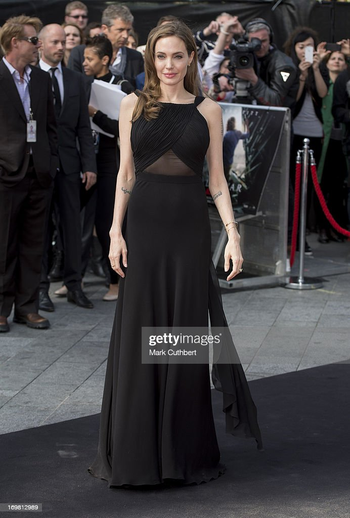<a gi-track='captionPersonalityLinkClicked' href=/galleries/search?phrase=Angelina+Jolie&family=editorial&specificpeople=201591 ng-click='$event.stopPropagation()'>Angelina Jolie</a> attends the World Premiere of 'World War Z' at The Empire Cinema on June 2, 2013 in London, England.