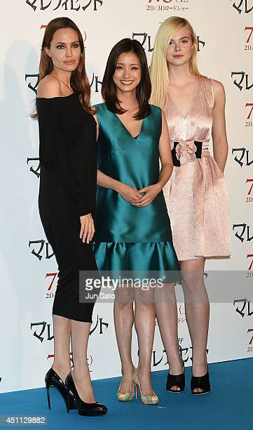 Angelina Jolie Aya Ueto and Elle Fanning attend 'Maleficent' press conference for Japan premiere at Grand Hyatt Tokyo on June 24 2014 in Tokyo Japan