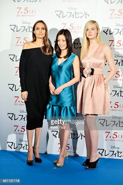 Angelina Jolie Aya Ueto and Elle Fanning attend 'Maleficent' press conference for the Japan premiere at Grand Hyatt Tokyo on June 24 2014 in Tokyo...