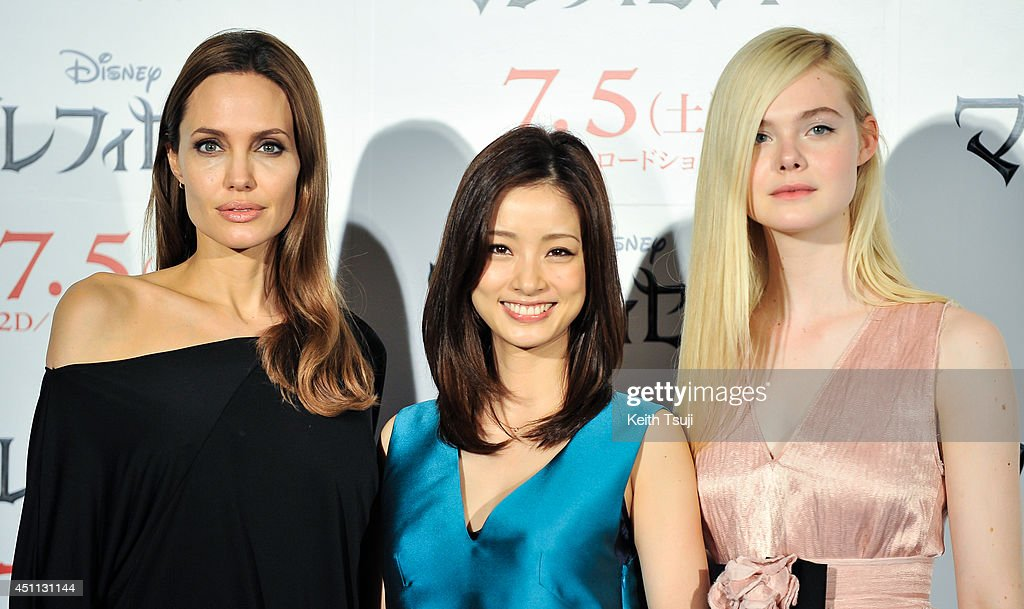 <a gi-track='captionPersonalityLinkClicked' href=/galleries/search?phrase=Angelina+Jolie&family=editorial&specificpeople=201591 ng-click='$event.stopPropagation()'>Angelina Jolie</a>, <a gi-track='captionPersonalityLinkClicked' href=/galleries/search?phrase=Aya+Ueto&family=editorial&specificpeople=2116424 ng-click='$event.stopPropagation()'>Aya Ueto</a> and <a gi-track='captionPersonalityLinkClicked' href=/galleries/search?phrase=Elle+Fanning&family=editorial&specificpeople=2189940 ng-click='$event.stopPropagation()'>Elle Fanning</a> attend 'Maleficent' press conference for the Japan premiere at Grand Hyatt Tokyo on June 24, 2014 in Tokyo, Japan.