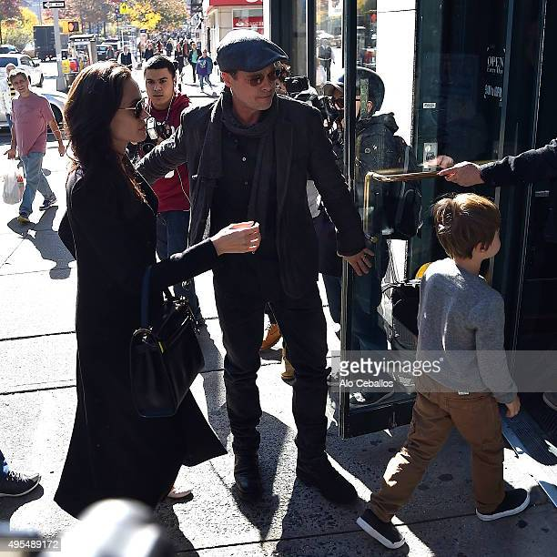 Angelina Jolie Brad Pitt and Knox Leon JoliePitt are seen in the Upper West Side on November 3 2015 in New York City