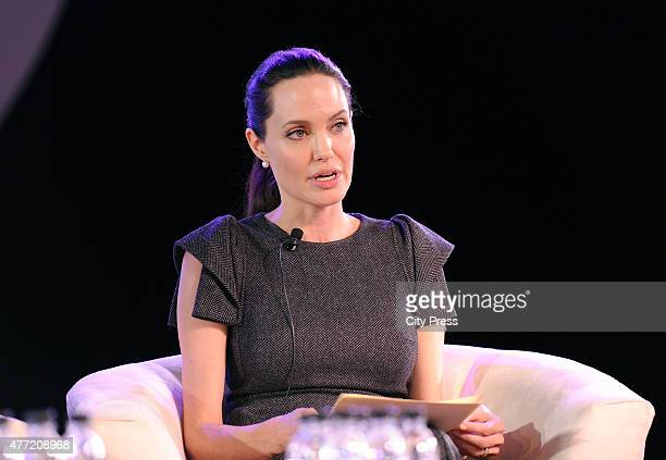 Angelina Jolie during her address at the 25th AU summit 2015 on June 12 2015 at Sandton Convention Centre in Johannesburg South Africa The actress...
