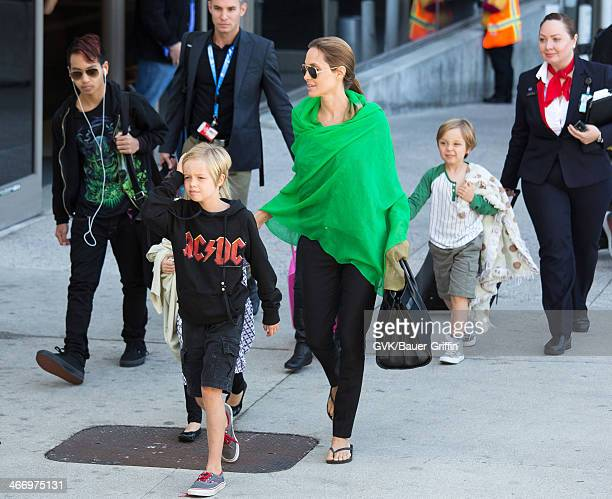 Angelina Jolie is seen after landing at Los Angeles International Airport with her children Maddox JoliePitt Shiloh JoliePitt Vivienne JoliePitt and...