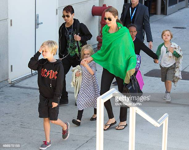Angelina Jolie is seen after landing at Los Angeles International Airport with her children Maddox JoliePitt Shiloh JoliePitt Vivienne JoliePitt...