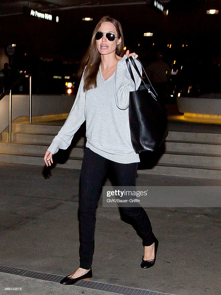 Angelina Jolie is seen at LAX airport on February 14, 2014 in Los Angeles, California.