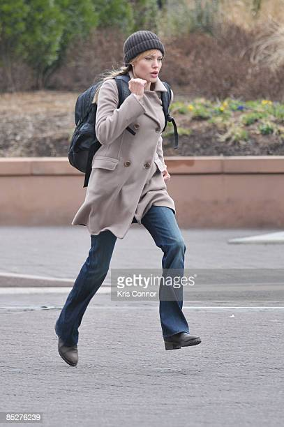 Angelina Jolie is seen on location for 'Salt' at L'Enfant Plaza on March 6 2009 in Washington DC