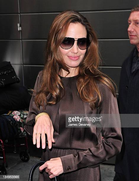 Angelina Jolie leaves the Mandarin Oriental Hotel on December 5 2011 in New York City