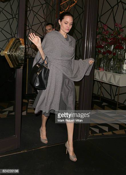 Angelina Jolie leaving Quaglinos restaurant in St James's on April 25 2016 in London England