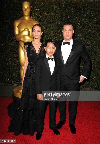 Angelina Jolie Maddox JoliePitt and Brad Pitt arrives at the The Board Of Governors Of The Academy Of Motion Picture Arts And Sciences' Governor...